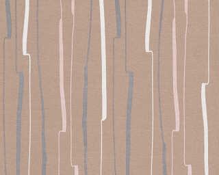A.S. Création papier peint «Rayures, blanc, marron, noir» 327963