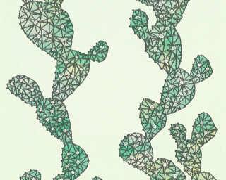 A.S. Création papier peint «Graphique, Floral, noir, vert» 327991