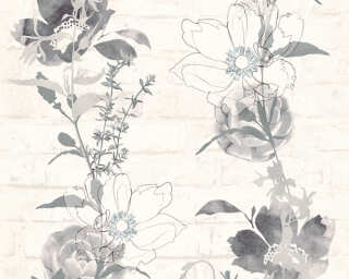 A.S. Création papier peint «Maison, Floral, blanc, gris, noir» 328003