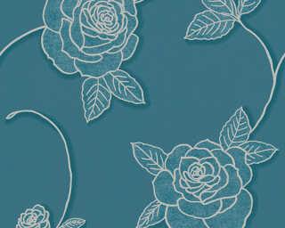 A.S. Création Wallpaper «Flowers, Blue, Metallic» 328325