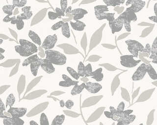A.S. Création Wallpaper «Flowers, Grey, Metallic, White» 328332