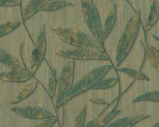 A.S. Création papier peint «Floral, 3D, métallique, or, vert» 328801