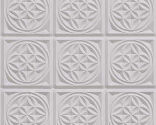 A.S. Création Wallpaper «Tile, 3D, Grey, Metallic» 329802