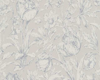 A.S. Création non-woven wallpaper «Cottage, Flowers, Grey, Metallic» 329851