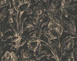 A.S. Création papier peint «Maison, Fleurs, métallique, noir, or» 329852