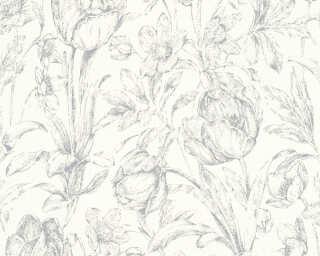 A.S. Création флизелин «Деревенский стиль, Цветы, Белые, Металлик» 329853