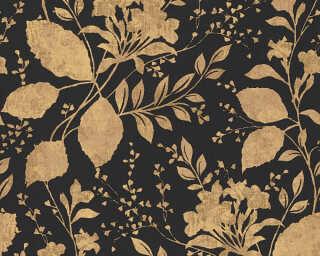 A.S. Création papier peint «Maison, Fleurs, métallique, noir, or» 329863