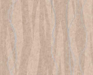 A.S. Création Wallpaper «Stripes, Brown, Metallic, Silver» 329992