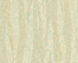 A.S. Création papier peint «Rayures, beige, métallique, or, turquoise» 329994