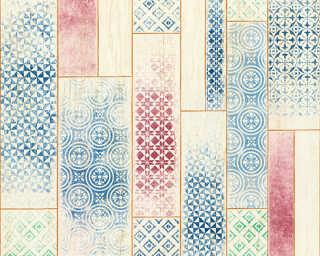 A.S. Création Wallpaper «Tile, Beige, Blue, Red» 330891