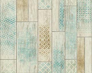 A.S. Création papier peint «Tuile, beige, marron, turquoise, vert» 330892