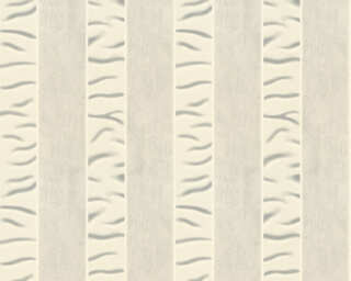 ORIGINALS papier peint «Rayures, blanc, gris, métallique» 333212
