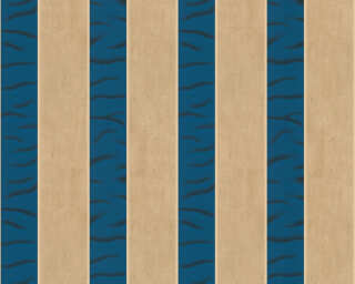 ORIGINALS papier peint «Rayures, beige, bleu, métallique, or» 333214