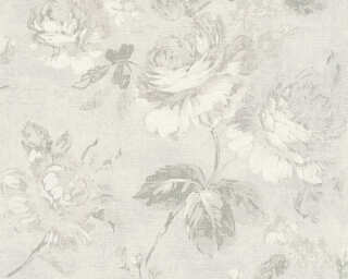 A.S. Création Wallpaper «Flowers, Grey, White» 336043