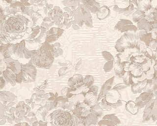 A.S. Création papier peint «Fleurs, argent, crème, marron, métallique» 338641