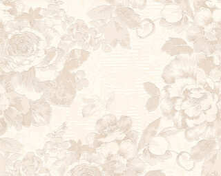 A.S. Création Wallpaper «Flowers, Cream, Metallic, Silver, White» 338643