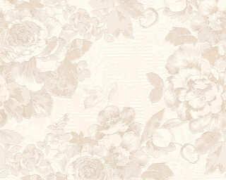 A.S. Création papier peint «Fleurs, argent, blanc, crème, métallique» 338643
