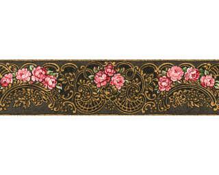 KIND OF WHITE Border «Floral, Black, Gold, Metallic, Red» 340741