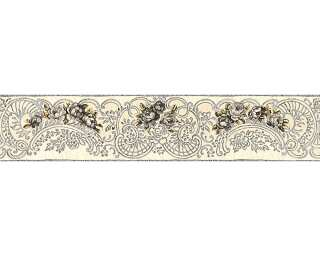KIND OF WHITE Бордюр «Флора, Бежевые, Металлик, Серебро, Серыe» 340742