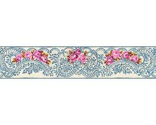KIND OF WHITE Border «Floral, Blue, Gold, Metallic, Red» 340743