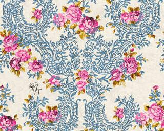 KIND OF WHITE Tapete «Blumen, Blau, Gold, Metallics, Rot» 340753