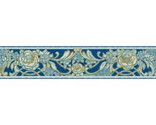 KIND OF WHITE Border «Floral, Blue, Gold, Metallic, Turquoise» 340781