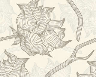 Colourcourage® Premium Wallpaper by Lars Contzen Tapete «Blumen, Creme, Grau» 340894