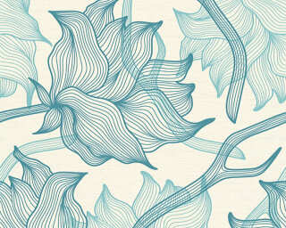 Colourcourage® Premium Wallpaper by Lars Contzen Tapete «Blumen, Blau, Creme» 340895