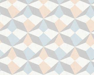 A.S. Création papier peint «Graphique, beige, bleu, métallique» 341332