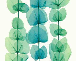 A.S. Création Wallpaper «Flowers, Green, Metallic, Turquoise, White» 342454