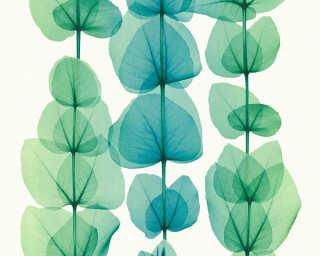 A.S. Création papier peint «Fleurs, blanc, métallique, turquoise, vert» 342454