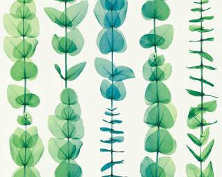 A.S. Création papier peint «Fleurs, blanc, métallique, turquoise, vert» 342464