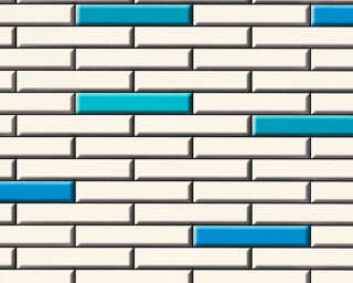 A.S. Création Wallpaper «Tile, Black, Blue, Cream» 342782