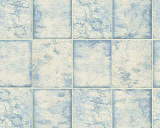 A.S. Création Wallpaper «Tile, Blue, Metallic, Silver, White» 342791