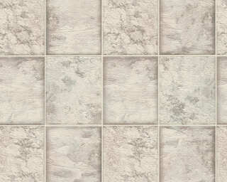 A.S. Création Wallpaper «Tile, Grey, Metallic, Silver, White» 342792