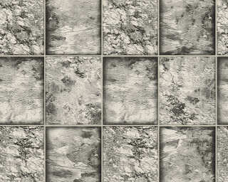 A.S. Création Wallpaper «Tile, Black, Metallic, Silver, White» 342793