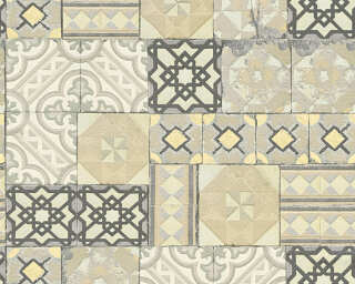 A.S. Création Wallpaper «Tile, Gold, Green, Grey, Metallic» 343002