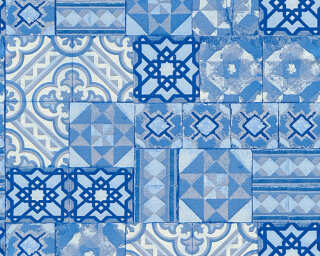 A.S. Création Wallpaper «Tile, Blue, Metallic, Silver» 343003
