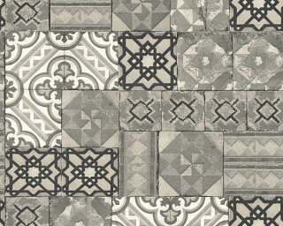 A.S. Création Wallpaper «Tile, Black, Grey, Metallic, Silver» 343004