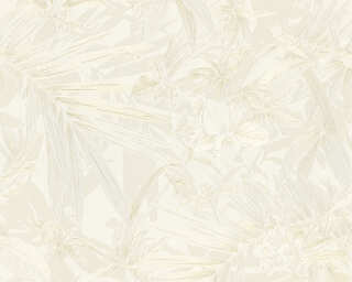 A.S. Création Wallpaper «Flowers, Cream, Gold, Metallic, White» 343791