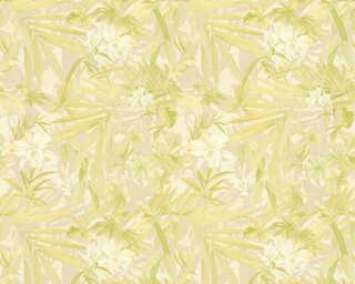 A.S. Création Wallpaper «Flowers, Cream, Gold, Green, Metallic» 343792