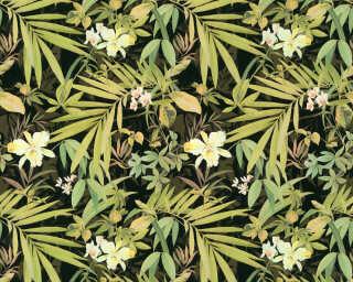 A.S. Création papier peint «Fleurs, métallique, noir, or, vert» 343793