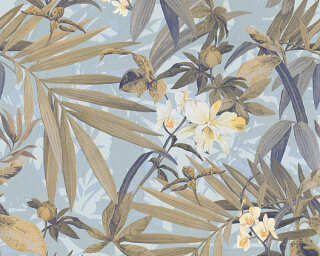 A.S. Création Wallpaper «Flowers, Blue, Brown, Gold, Metallic» 343796