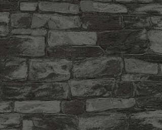 Livingwalls Wallpaper «Stone, Black, Grey, Metallic, Silver» 343819