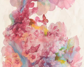 A.S. Création Wallpaper «Flowers, Beige, Blue, Red, Turquoise» 344511