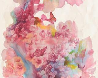 A.S. Création papier peint «Fleurs, beige, bleu, rouge, turquoise» 344511