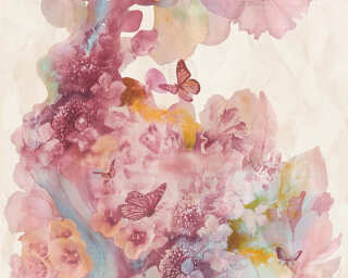 A.S. Création Wallpaper «Flowers, Beige, Blue, Red, Turquoise» 344512