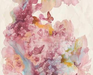 A.S. Création papier peint «Fleurs, beige, bleu, rouge, turquoise» 344512