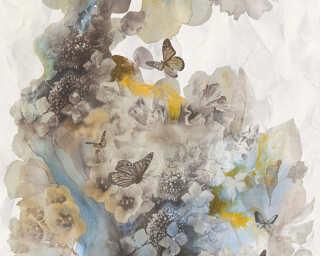A.S. Création papier peint «Fleurs, bleu, gris, noir» 344513