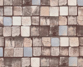 A.S. Création non-woven wallpaper «Wood, Beige, Blue, Brown» 344524